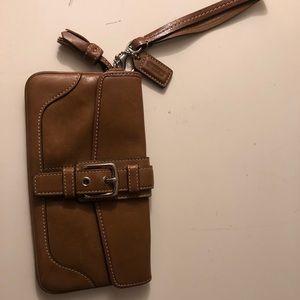 Coach Tan Leather Wristlet Wallet